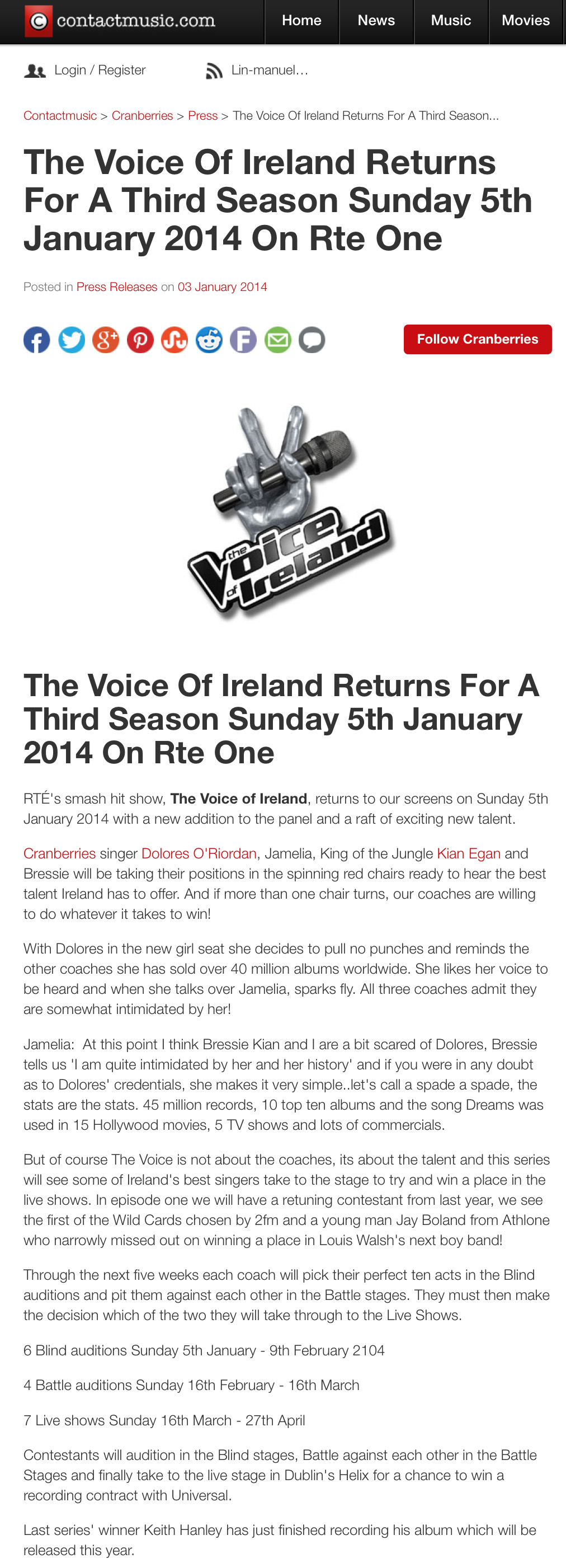 """The Voice of Ireland"""" to premiere this Sunday 